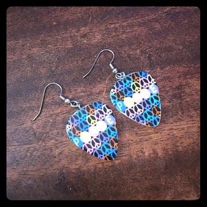 Jewelry - Acrylic Multicolor Peace Guitar Pick Earrings NWT